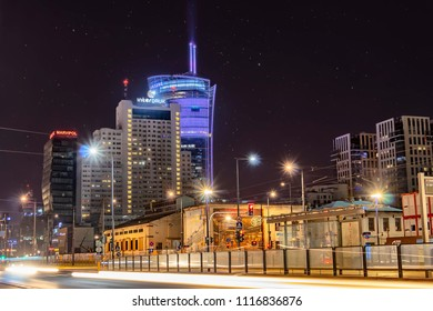 Warsaw, Poland May 30, 2018: Night panorama of Warsaw with new constructions at night. New glass and steel skyscrapers coexisting with old buildings