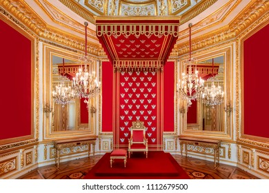 Warsaw, Poland May 31, 2018: The Throne Room inside the Royal Warsaw Castle
