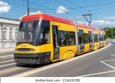 Warsaw, Poland May 31, 2018: Bi-directional Jazz tram, produced by Polish company Pesa in Warsaw, Poland