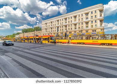 Warsaw, Poland May 31, 2018: Bi-directional Jazz tramways, produced by Polish company Pesa in Warsaw, Poland