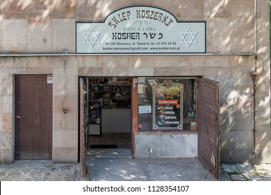 Warsaw, Poland May 31, 2018: kosher store in warsaw jewish neighborhood