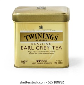 Warsaw, Poland - November 04, 2016: Image of Twinings tea bag isolated on white  Twinings was founded in 1706 in London.