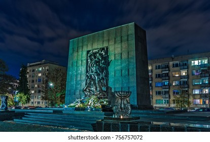 Warsaw, Poland - November 05, 2017: Warsaw Ghetto Heroes Monument in the former Jewish district of the Polish capital.