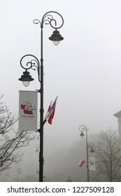 Warsaw, Poland, November 10, 2018:   Poland flags 100 years Independence celebration, Capital Independence Day, Wasza Warszawa Stolica wolności, stolica 100 rocznica odzyskania niepodległości