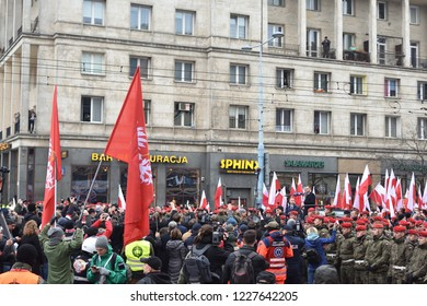 Warsaw, Poland - November 11, 2018: Speech of Polish president Andrzej Duda before the Independence day march, celebration of 100th anniversary.
