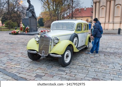 Warsaw, Poland - November 11, 2018: Vintage car Mercedes Benz Pullman 1936 on the street in Independence Day of Poland