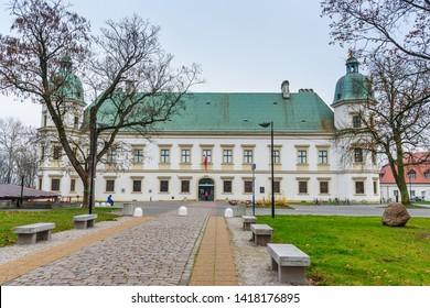 Warsaw, Poland - November 11, 2018: Ujazdow Castle in autumn in Warsaw