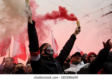 WARSAW, POLAND - NOVEMBER 11, 2020: Independence day march organized by ultra catholic right wing groups on the 102nd Anniversary of Poland's independence day