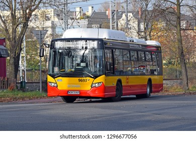 Warsaw, Poland - November, 12, 2018: Scania Citywide low floor CNG bus in motion.