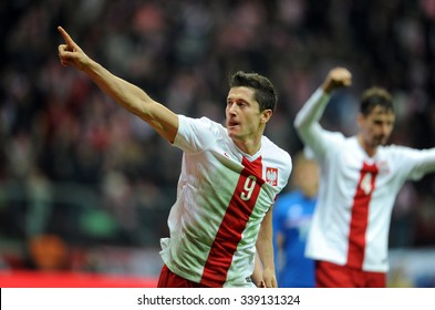 WARSAW, POLAND - NOVEMBER 13, 2015: EURO 2016 European Championship friendly game Poland - Iceland o/p Robert Lewandowski goal bayern munich