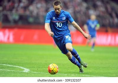 WARSAW, POLAND - NOVEMBER 13, 2015: EURO 2016 European Championship friendly game Poland - Iceland o/p Gylfi Thor Sigurdsson
