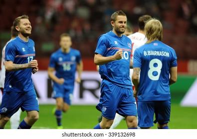 WARSAW, POLAND - NOVEMBER 13, 2015: EURO 2016 European Championship friendly game Poland - Iceland o/p Gylfi Thor Sigurdsson goal penalty