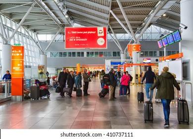 WARSAW, POLAND - NOVEMBER 14: Check-in hall of Chopin Okecie Airport in Warsaw, Poland on November 14, 2015.