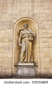 WARSAW, POLAND - NOVEMBER 20, 2016: Statue on the Palace of Culture and Science in the city center