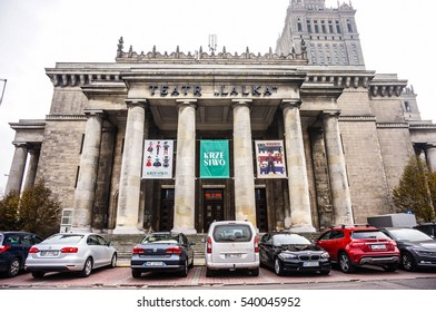 WARSAW, POLAND - NOVEMBER 20, 2016: Parked cars in front of the Teatr Lalka of the Palace of Science and Culture