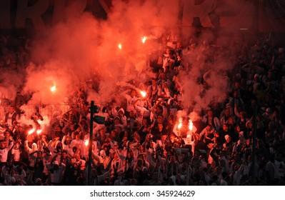 WARSAW, POLAND - NOVEMBER 21, 2015: T-Mobile Extra League Polish Premier Football League Legia Warsaw Slask Wroclaw o/p: Legia football fans