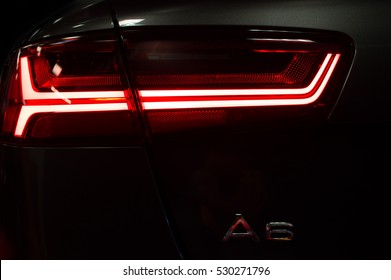 WARSAW, POLAND - NOVEMBER 21, 2016: Audi A6 light close up. The brand is used for luxury automobiles, buses, coaches and trucks.
