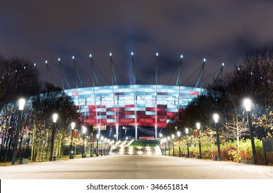 Warsaw, Poland - November 23 2015. Warsaw National Stadium has a retractable roof and is illuminated at night in the national colors, and can accommodate 58 500 spectators.