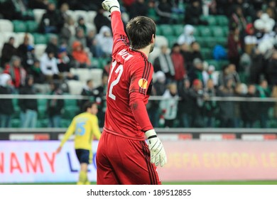 WARSAW, POLAND - November 28: Dusan Kuciak, Legia Warsaw goalkeeper during UEFA Europa League football match between Legia Warsaw and Lazio Rome, on November 28, 2013 in Warsaw, Poland.