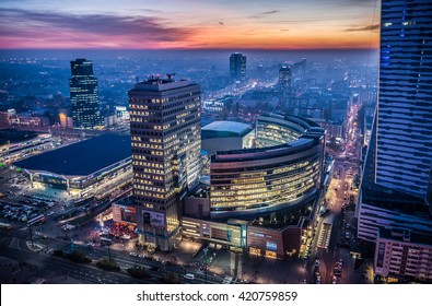 WARSAW, POLAND - NOVEMBER 3, 2015. Aerial view from Palace of Culture and Science with Golden Terraces shopping centre and Warszawa Centralna railway station in Warsaw
