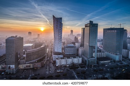 WARSAW, POLAND - NOVEMBER 3, 2015. Aerial view with Golden Terraces, Zlota 44 skyscraper, Warsaw Towers, InterContinental Hotel, Warsaw Financial Center in Warsaw