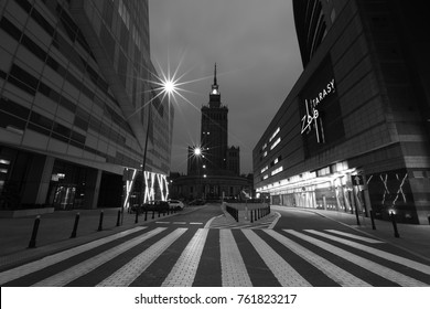 WARSAW, POLAND - November 5 2017: Warsaw at night, black and white, Poland