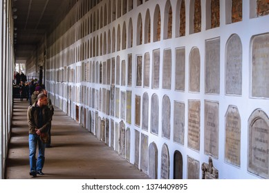 Warsaw, Poland - November 9, 2008: Columbarium on a Powazki Cemetery, historic cemetery located in the Wola district of Warsaw city