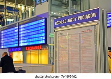 WARSAW, POLAND - NOVEMBER 9, 2017 - Train timetable (arrivals) at Warszawa Centralna railway station