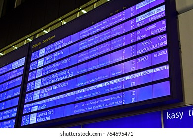 WARSAW, POLAND - NOVEMBER 9, 2017 - Electronic information screen  for train departures at Warszawa Centralna railway station