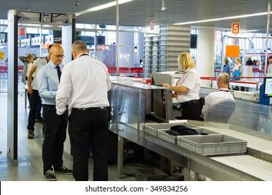 WARSAW, POLAND - NOVEMBER 9: Security check area, Warsaw Chopin Airport on November 15, 2015 in Warsaw, Poland