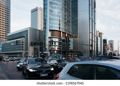 Warsaw, Poland - Oct 1, 2018: Heavy traffic during rush hour in the business district of Warsaw, Poland