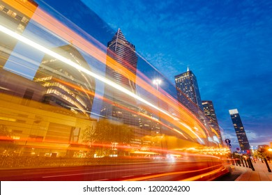 Warsaw, Poland - Oct 1, 2018: Warsaw Central Business District at night