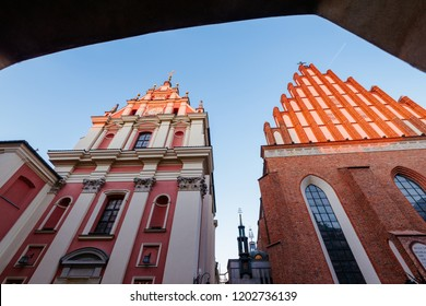 Warsaw, Poland - Oct 11, 2018: Warsaw old town. St. John`s Archcathedral and Shrine of Our Lady of Grace the Patron of Warsaw.
