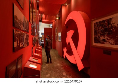 Warsaw, Poland - Oct 19, 2018: Exhibition in theWarsaw Uprising Museum in Poland.