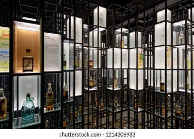 Warsaw, Poland - Oct 20, 2018: Vodka bottles form the past displayed in the Warsaw Vodka Museum, Warsaw, Poland