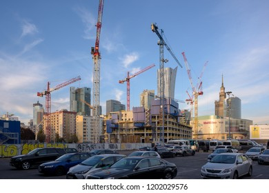 Warsaw, Poland - Oct 8, 2018: A large  building site and cranes and  in Central Warsaw, Poland