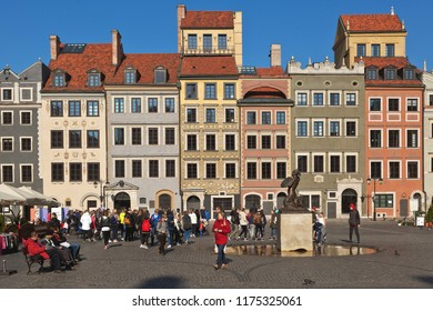Warsaw, Poland - October 01, 2017: Warsaw's Old Town Market Place, ancient colorful facades of houses