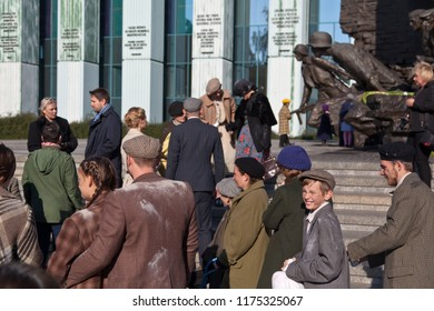 Warsaw, Poland - October 01, 2017: Urban residents at the event in memory of the victims of Nazism. Рistorical reenactment.
