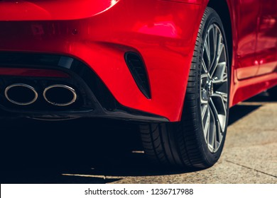 Warsaw, Poland - October, 08, 2018: Front with headlight of Kia Stinger car.