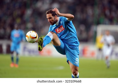 WARSAW, POLAND - OCTOBER 1, 2015: UEFA Europa League group stage Legia Warsaw SSC Napoli o/p: Gonzalo Higuain Napoli goal
