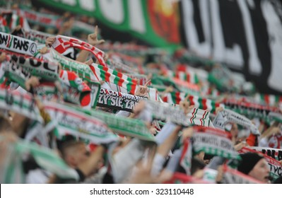 WARSAW, POLAND - OCTOBER 1, 2015: UEFA Europa League group stage Legia Warsaw SSC Napoli o/p: Legia fans supporters