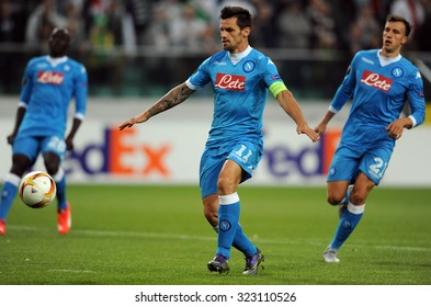 WARSAW, POLAND - OCTOBER 1, 2015: UEFA Europa League group stage Legia Warsaw SSC Napoli o/p: Christian Maggio Napoli