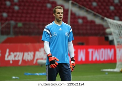 WARSAW, POLAND - OCTOBER 10, 2014: Manuel Neuer, German national football team and Bayern Munich goalkeeper at the last training before the UEFA EURO 2016 qualifying match of Poland vs. Germany.