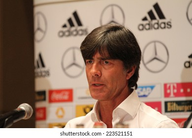 WARSAW, POLAND - OCTOBER 10, 2014: Joachim Loew, head coach of the German national football team attends a press conference before the UEFA EURO 2016 qualifying match of Poland vs. Germany.