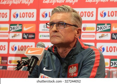WARSAW, POLAND - OCTOBER 10, 2015: Coach Adam Nawalka (Poland) during press conference before EURO 2016 qualification football match beetween Poland and Republic of Ireland.