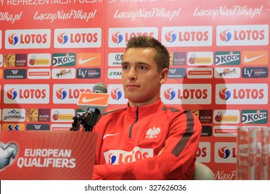 WARSAW, POLAND - OCTOBER 10, 2015: Artur Sobiech (Poland) during press conference before EURO 2016 qualification football match beetween Poland and Republic of Ireland.