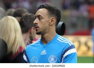 WARSAW, POLAND - OCTOBER 11, 2014: Karim Bellarabi (German and Bayer Leverkusen player) before the UEFA EURO 2016 qualifying match of Poland vs. Germany. Poland beat Germany 2:0