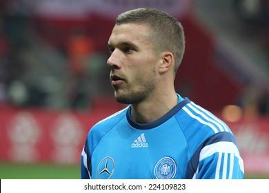 WARSAW, POLAND - OCTOBER 11, 2014: Lukas Podolski (German and Arsenal London player) before the UEFA EURO 2016 qualifying match of Poland vs. Germany. Poland beat Germany 2:0