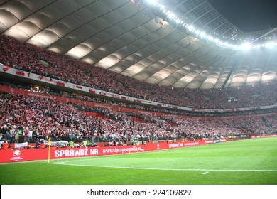 WARSAW, POLAND - OCTOBER 11, 2014: National Stadium in Warsaw during the UEFA EURO 2016 qualifying match of Poland vs. Germany. Poland beat Germany 2:0. The match was watched by over 56,000 spectators