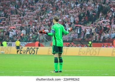 WARSAW, POLAND - OCTOBER 11, 2014: Manuel Neuer in action (German team and Bundesliga club Bayern Munich goalkeeper) during the UEFA EURO 2016 qualifying match of Poland vs. Germany